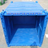 back of open face blue container