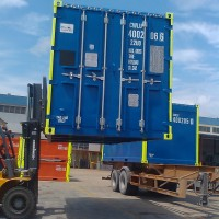 container on forklift